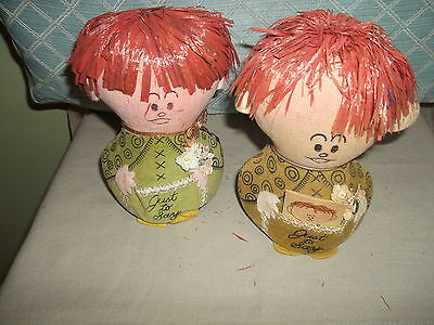 """Two Vintage 6"""" Western Union Dolly Grams   very cute"""