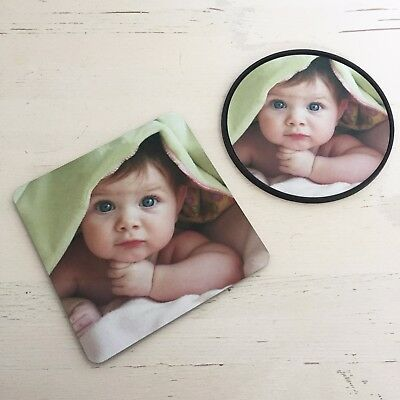 Personalised Custom Photo Gift Mug Coaster Cup Hold 9/10cm Any Artwork Logo Text