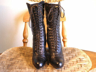 Antique Victorian Era Black Leather Lace Up Boots Us 5 1/2 Or 6(?)