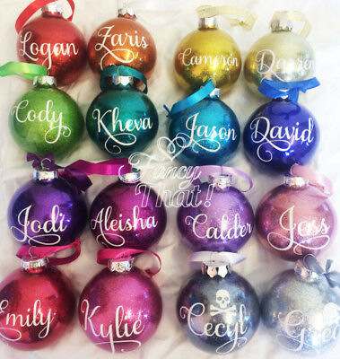 Personalised Christmas Xmas Baubles Decorations Handmade 2pack
