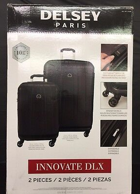 Delsey Innovate DLX 2 Piece Hardside Weight Meter Spinner Luggage Set, Black
