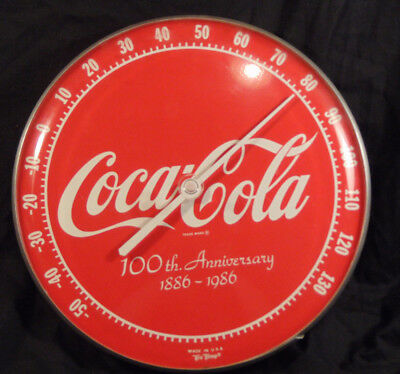 Vintage Coca Cola 100th Anniversary 1986 Tru Temp Advertising Wall Thermometer