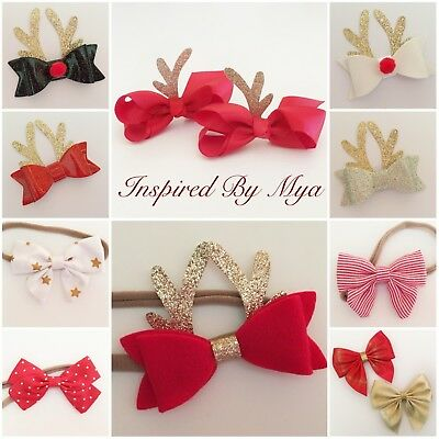 Headband Baby Girl Toddler Newborn Bow Nylon Hair Clip Christmas Accessory