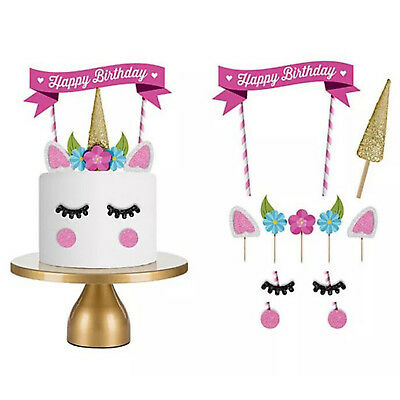 1Set Cute Unicorn Cake Topper Happy Birthday Candle Party Supplies Decor DIY NS