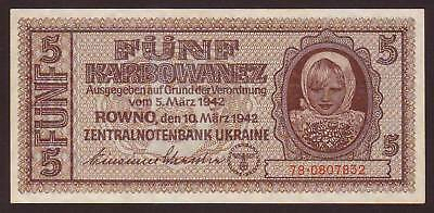 Ukraine  German Occupation WWII  5 Karbowanez  1942   UNC