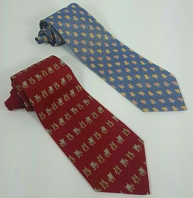 Lot Of 2 Tommy Bahama Off Island Tie Neck Tie Beach Chairs Red/blue 100% Silk