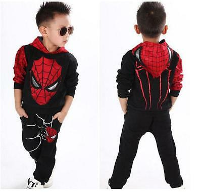 2PCS Kids Baby Boys Clothes Long Sleeve Spiderman Top+Pants Sportwear Outfits