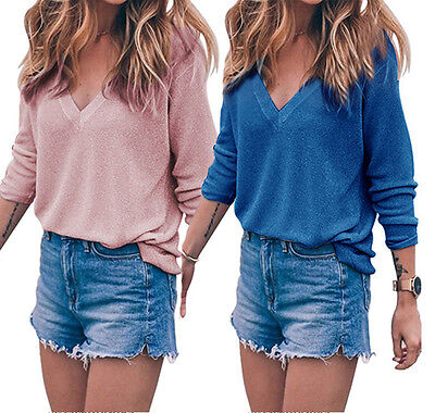 Women V-neck Long Sleeve Knitted Pullover Loose Sweater Jumper Tops Knitwear