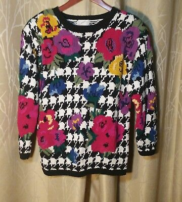 Vintage 80's Women's Sweater by Clasile, Ramie/Cotton, Black/White/Multi Floral