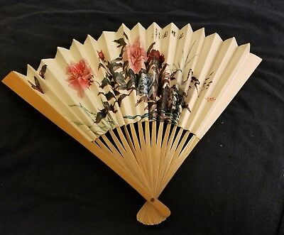Chinese paper fan, 9 inches long.