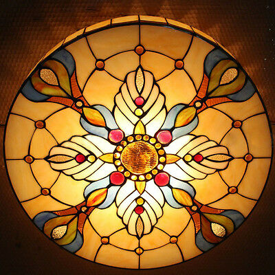 Vintage Tiffany Style Stained Round Glass Flush Mount Ceiling Light Lamp Fixture