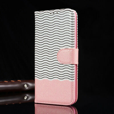 Flip Wallet Bling Glitter Wave Stand Leather Case Cover For Samsung S8 S7 S6 S5