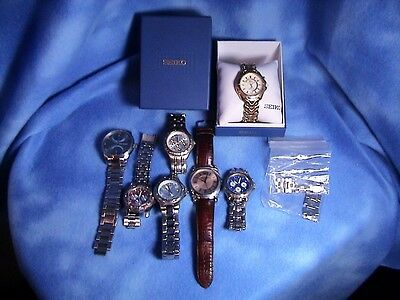 Mens Watch Lot of 7 Working, Seiko, Relic, TAG, Hurlingham, Fossil, Armani (164)
