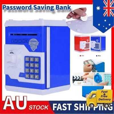 Kids Electronic Money Safe Box Password Saving Bank ATM for Coins and Bills New