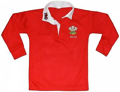 (32, RED/WHITE COLOR) - Wales Welsh Cymru Rugby Shirts full sleeve for boys