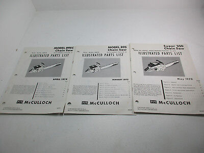MCCULLOCH CHAINSAW ILLUSTRATED Parts List Model 940 1969