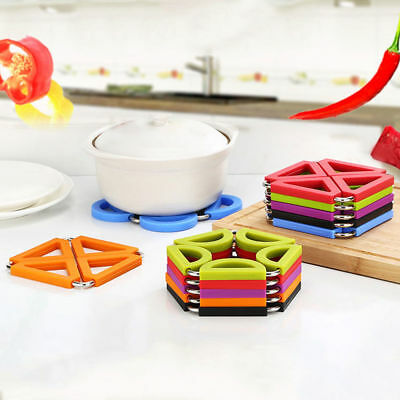 Silicone Stainless Steel Trivet Pads Mat Heat Resistant Foldable Pan Pot Holder