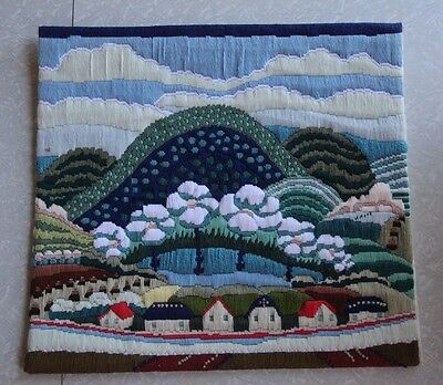 Vintage Embroidery Needlepoint Yarn Art Blue 70s Mountain Floral Houses MCM 18""