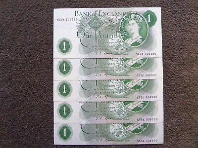 (1967) Bank Of England  - Five Consecutive One Pound Note - Unc - B305