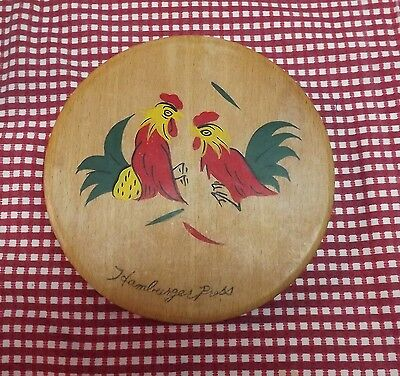 """Wooden 1950's Roosters Hamburger Press. Nice Condition. Nice Clean Picture 5.75"""""""
