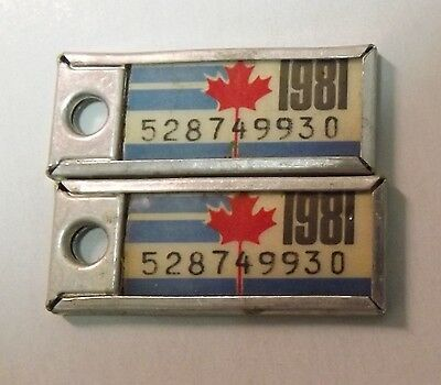 Pair of 1981 License Plate Key Tags. Ontario Canada. War Amps Key Return Service
