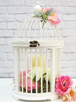 Wedding Wooden Wishing Well Card Box Bird Cage Decoration White Cards Wishes