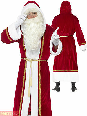 Mens Deluxe Santa Claus Cloak Hooded Coat Father Christmas Costume Fancy Dress