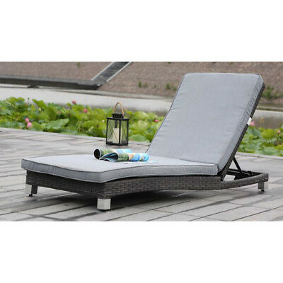 New! Adjustable Rattan Lounge Chair With Cushions - Outdoor Lounger-Black Wicker