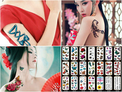 Real 3D Waterproof Temporary Tattoo Lady Boy Girl Halloween Party Costume Makeup