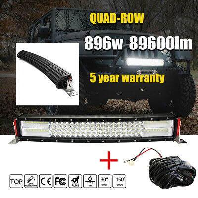 "9D 896W LED Light Bar  22"" Combo Curved Led Strip with Wire harness Kit for Jeep"