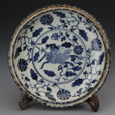 China old antique Porcelain jingdezhen Hand painting blue & white kylin Plate