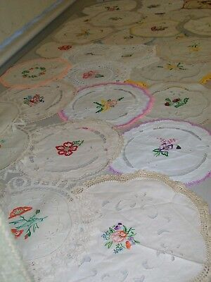 30 vintage embroidered smaller doilies.  vgc