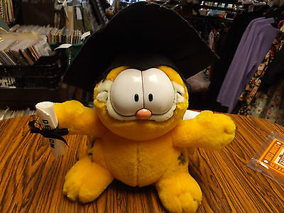 vintage 1990s garfield graduation outfit plush toy-vgc-still tagged