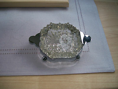 Vintage Glass Butter/jam Dish On Chrome Metal Ball Foot Stand - Art Deco Syle