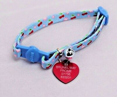 Cat kitten break free safety Collar with bell With ENGRAVED HEART PET ID TAG