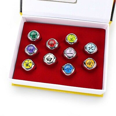Akatsuki Member's Ring Naruto Anime 10pcs 1 Set Collections In Box Cosplay New