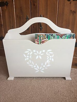 Shabby Chic Magazine Rack With Pretty Heart Detail