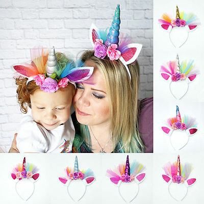 Unicorn Horn Ears Head Party Kids Hair Headband Fancy Dress Cosplay Decor Xmas