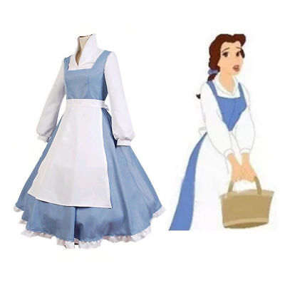 Beauty and the Beast Belle Blue Princess Dress Maid Cosplay Halloween Costume US