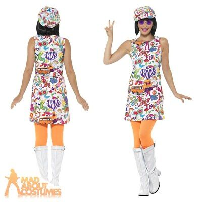 Ladies Adult Retro Mod 60s 70s Groovy Chick Hippy Hippie Fancy Dress Costume