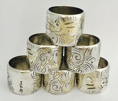 Antique Japanese Silver Napkin Rings BOXED (R2536 )