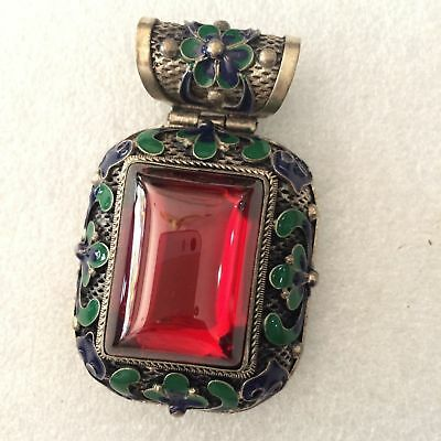 antique Chinese ancient Tibetan silver carved stone encrusted stone pendant rare