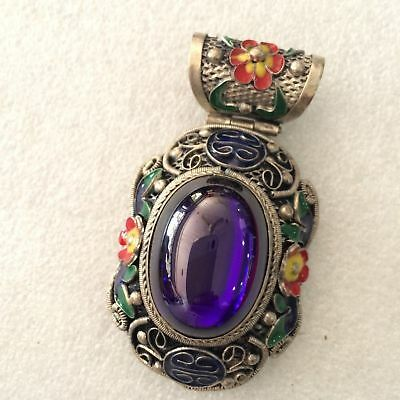 pretty antique Chinese ancient Tibetan silver carved stone encrusted stone