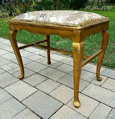 Hollywood Regency vanity bench stool carved wood French gold gilt Queen Anne