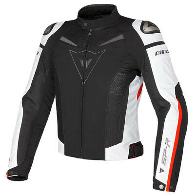 Dainese Super Speed Vented Textile Motorcycle Jacket - Black / White / Red