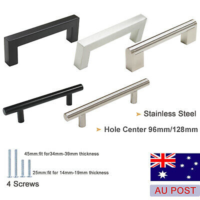 Kitchen Cabinet Handles Stainless Steel Knobs Drawer Cupboard Pulls Lot 96&128mm
