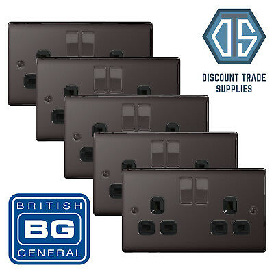 5x BG Nexus Double Socket Black Nickel NBN22B 2 Gang Black Inserts Free delivery