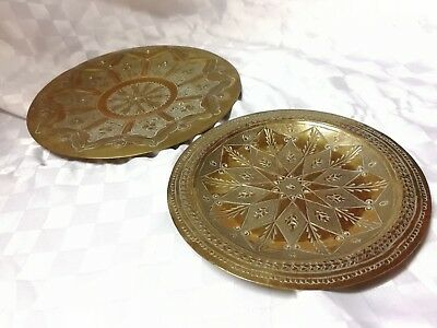 Brass wall plates, x2 Antique, hand decorated, Exc Cond