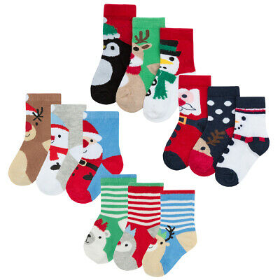6 Pairs Baby Boy Girl Xmas Cotton Rich Christmas Socks Festive 0-0 0-2.5 3-5.5