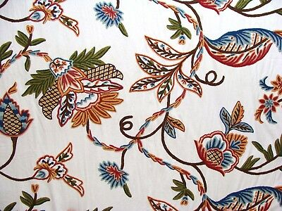 Crewel Fabric Hand Embroidered Kashmir Wool On Cotton Multicolor 60 X 1 Yard